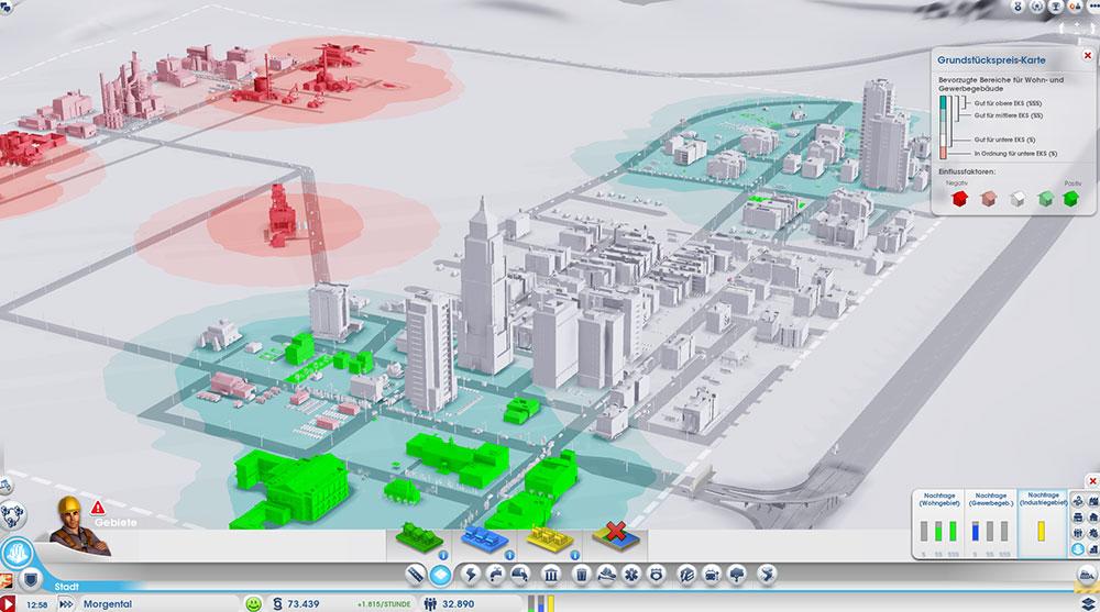 Die Statistiken sind sehr übersichtlich und hilfreich. Hier die Gebäudedichtekarte, die unter anderem anzeigt, ob die Sims zufrieden sind und ihr Haus gerne ausbauen würden.