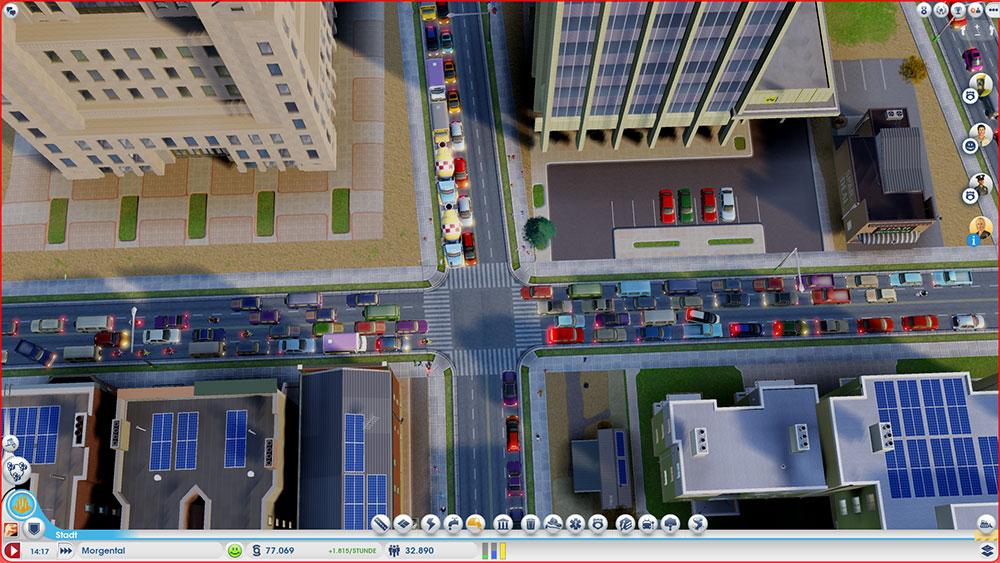 Staus sind nahezu allstündlich in SimCity -  und dieses Gebilde hier ist noch moderat. Maxis arbeitet aber bereits an einer Lösung. Derzeit hilft unter anderem möglichst auf viele Kreuzungen zu verzichten.